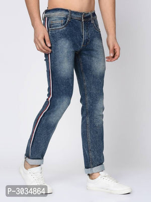 Ocean Blue Faded Side Tape Denim Jeans