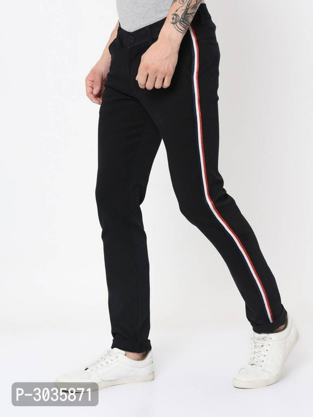 Extreme Black Side Tape Trousers