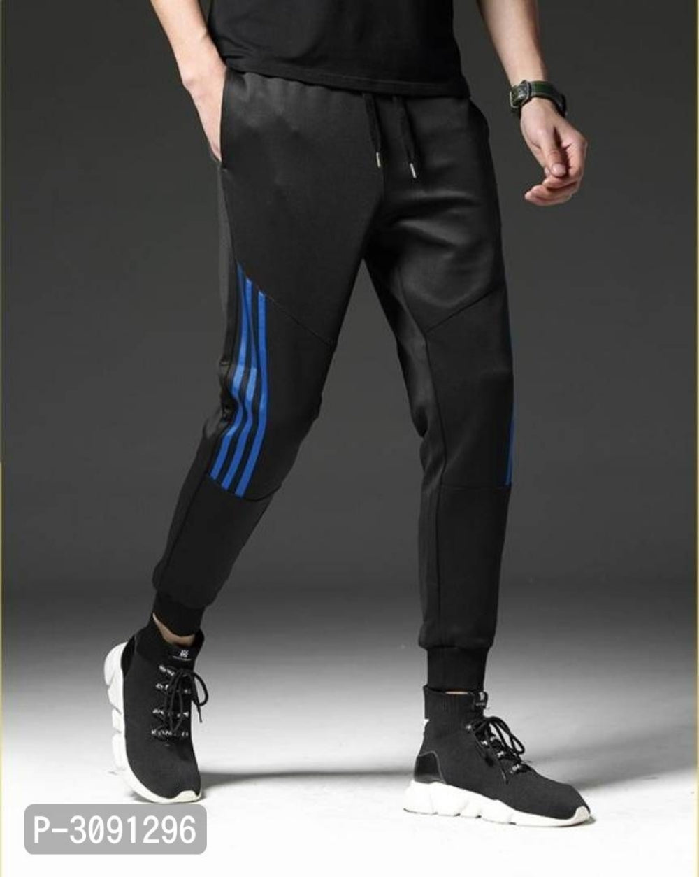 Extreme Black Blue Stripe Polyster Joggers
