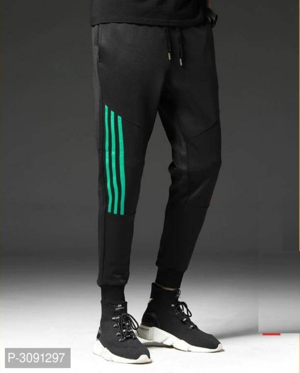 Extreme Black Turquoise Stripe Polyster Joggers