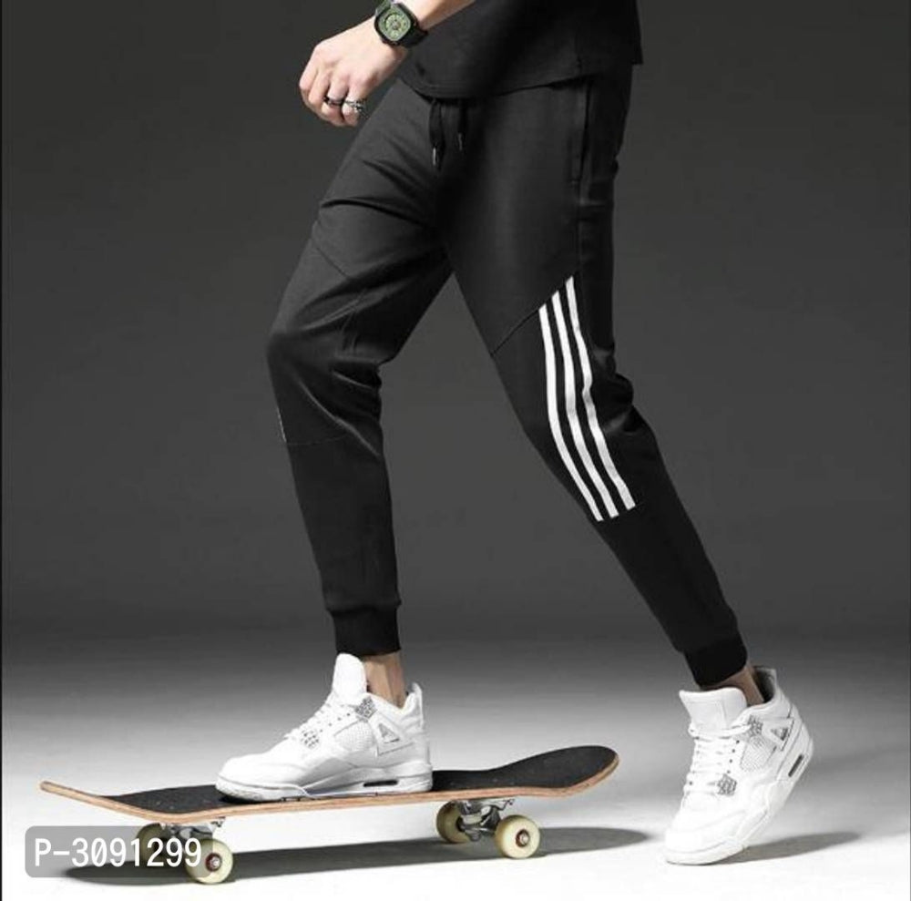 Extreme Black White Stripe Polyster Joggers