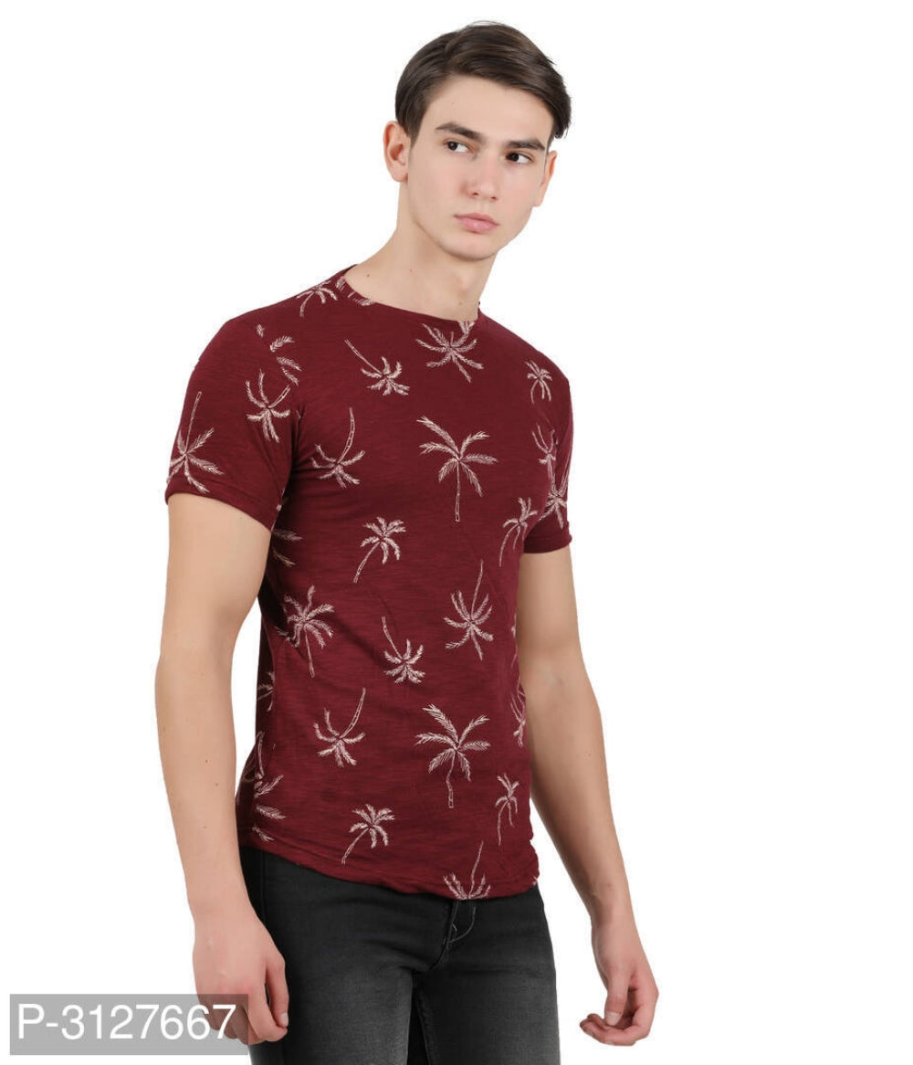 Maroon Palm Tree Print Short Sleeve Tshirt