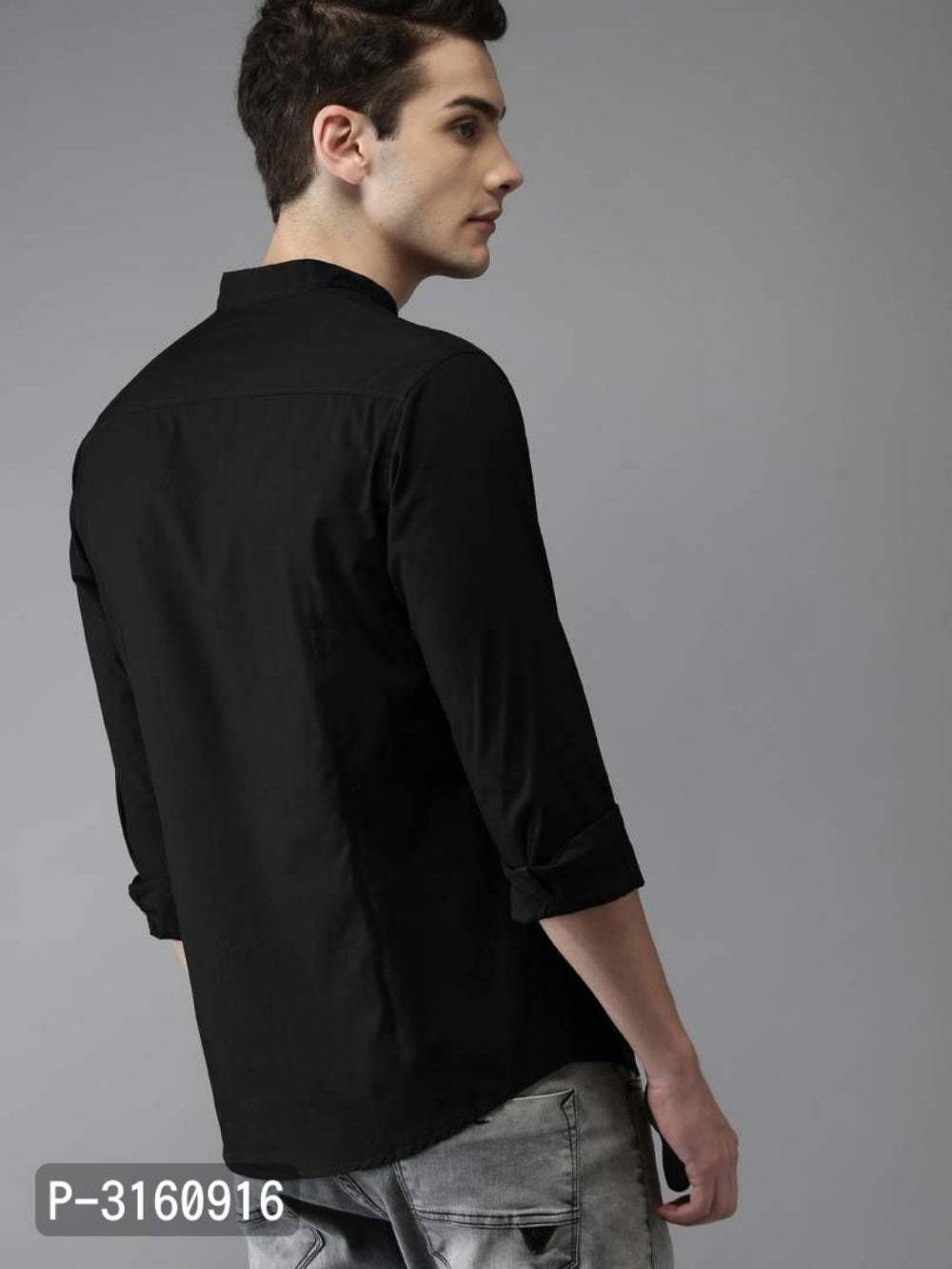 Coal Black Solid Long Sleeve Shirt