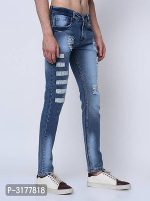 Dark Blue Distressed Printed Denim Jeans