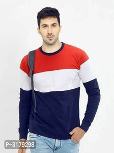Midnight Blue & Cherry Red Colour Block Long Sleeve T-shirt