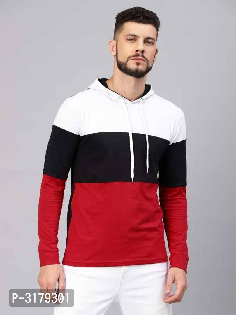 Apple Red Colour Block Hooded Long Sleeve T-shirt