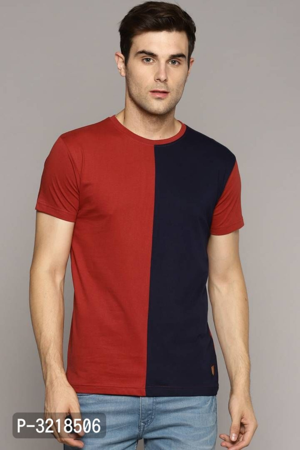 Rose Red Colour Block Short Sleeve Tshirt