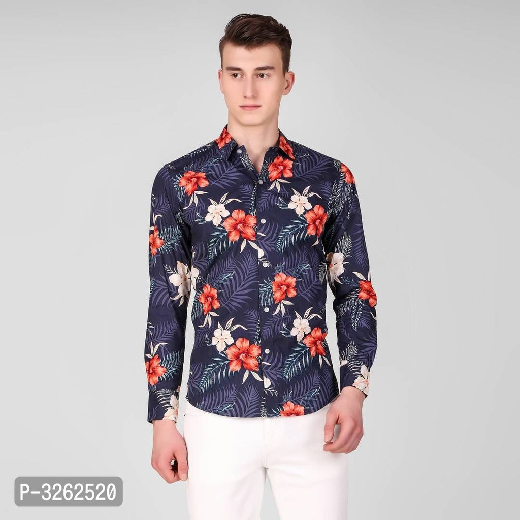 Midnight Blue Floral Print Long Sleeve Shirt