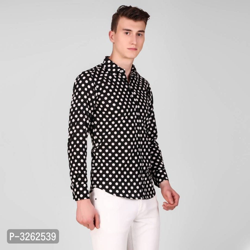 Charcoal Black Polka Dot Long Sleeve Shirt
