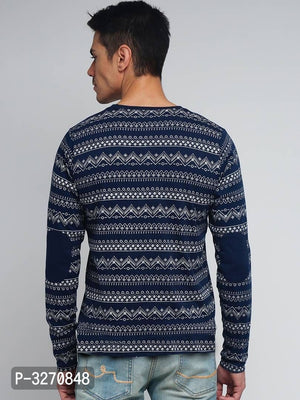 Midnight Blue Patchwork Tribal Print Long Sleeve Tshirt