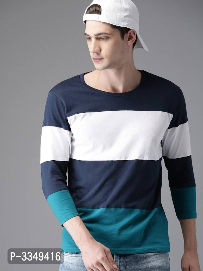 Berry Blue Colour Block Round Neck Tee