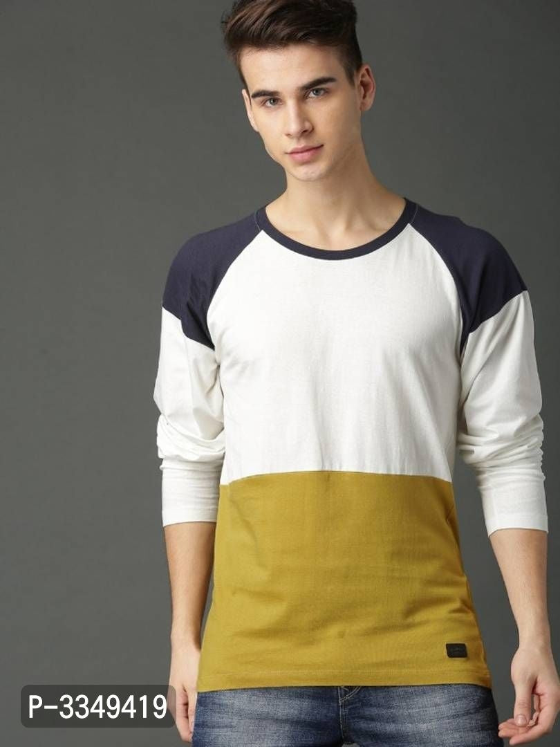 Extreme White Colour Block Round Neck Tee