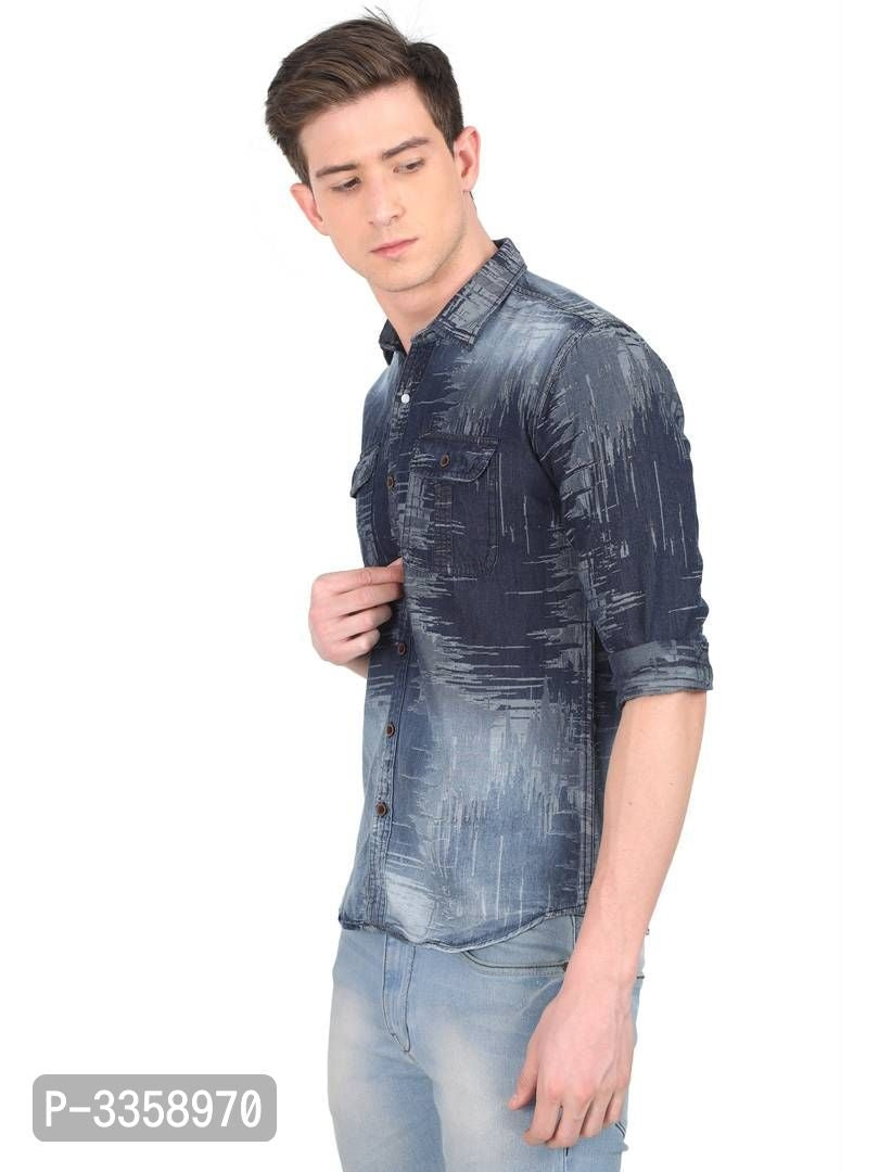 Denim Faded Long Sleeve Shirt