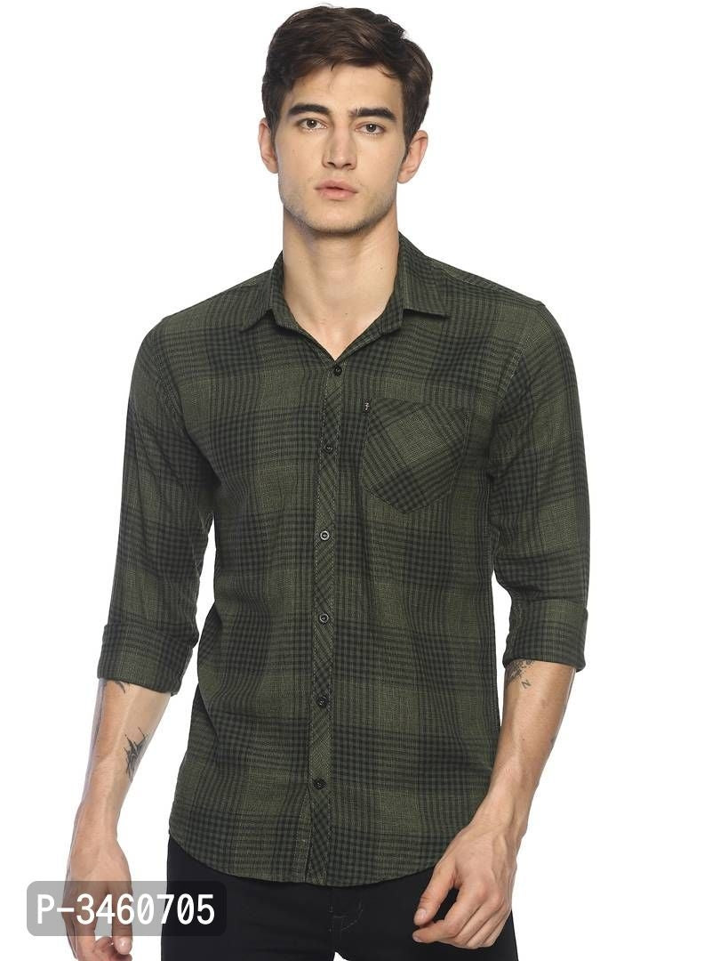 Bottle Green Double Check Long Sleeve Shirt