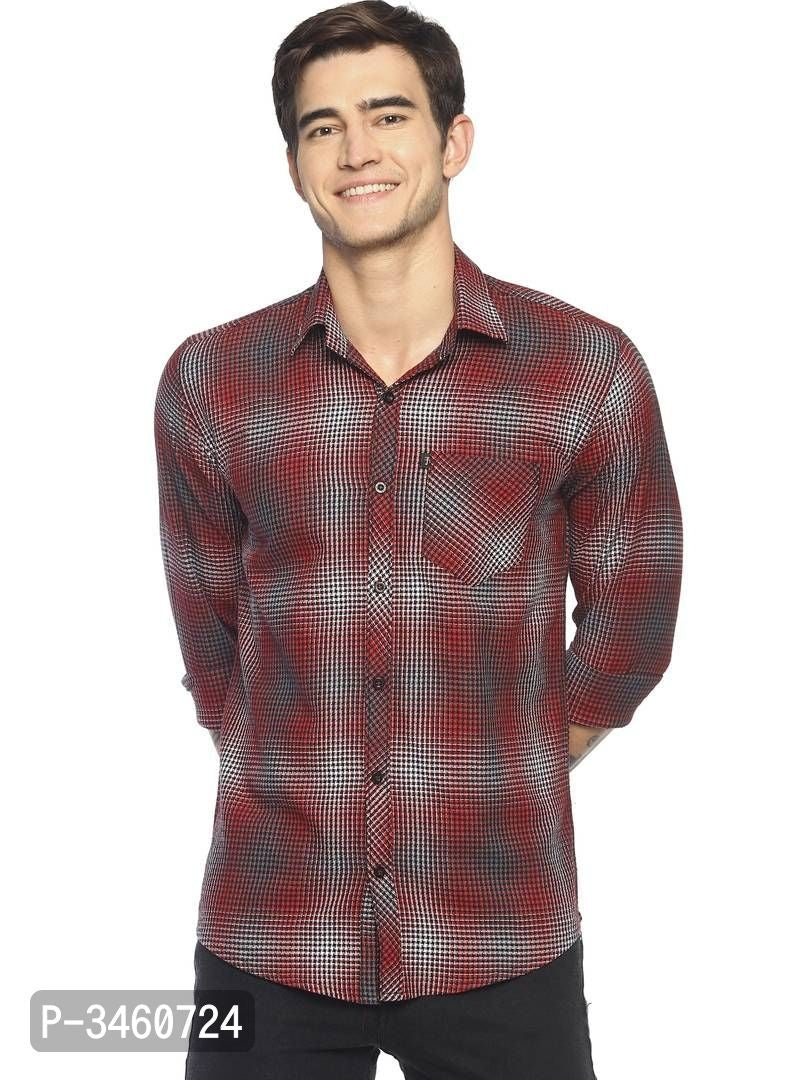 Cherry Red Micro Check Long Sleeve Shirt