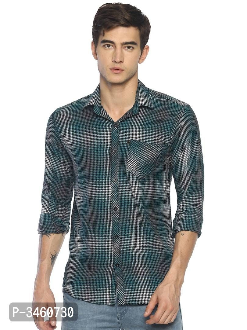 Prussian Blue Micro Check Long Sleeve Shirt