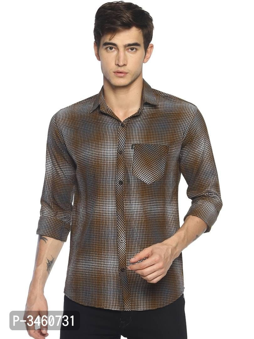 Mud Brown Micro Check Long Sleeve Shirt