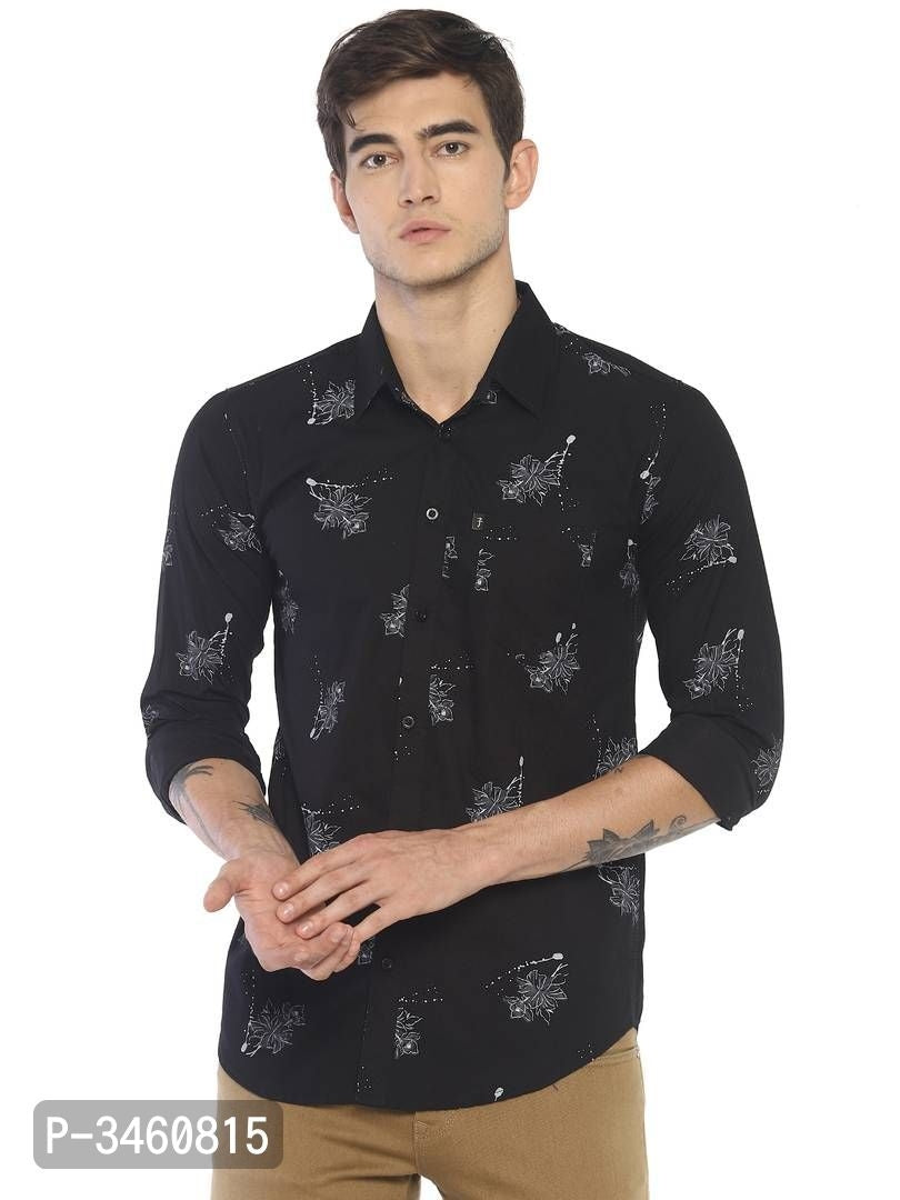 Jet Black Floral Print Long Sleeve Shirt