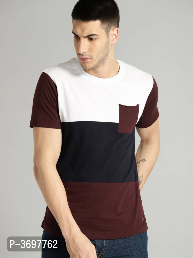 Coffee Brown Color Block Short Sleeve Tshirt