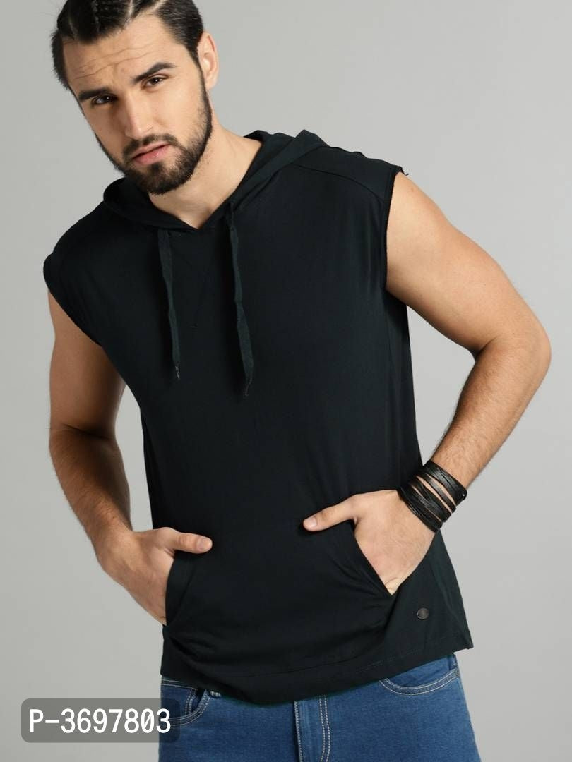 Extreme Black Solid Hooded Sleeveless Tshirt