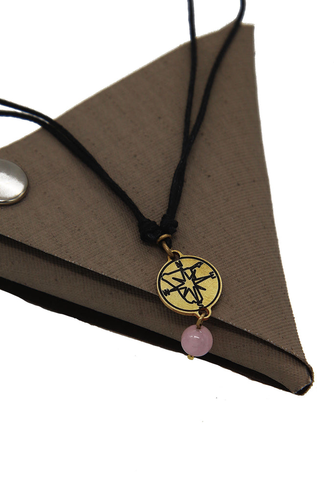 Tameka - Compass Rose Quartz  Necklace with Canvas Pouch