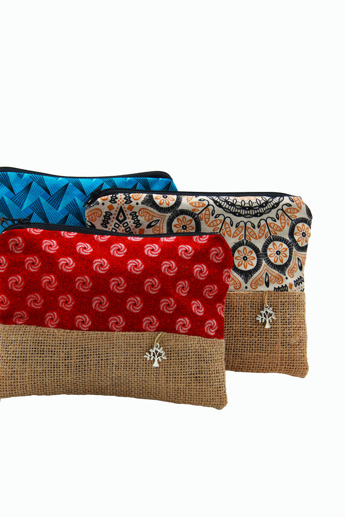 Little Bugs - African Cloth & Hessian Make-Up Bags