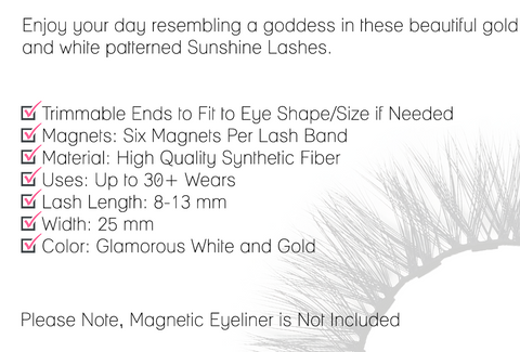 Enjoy your day resembling a goddess in these beautiful gold sultry  and white patterned Sunshine Lashes.