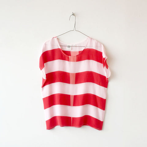 Red Stripe Silk Tee SAMPLE