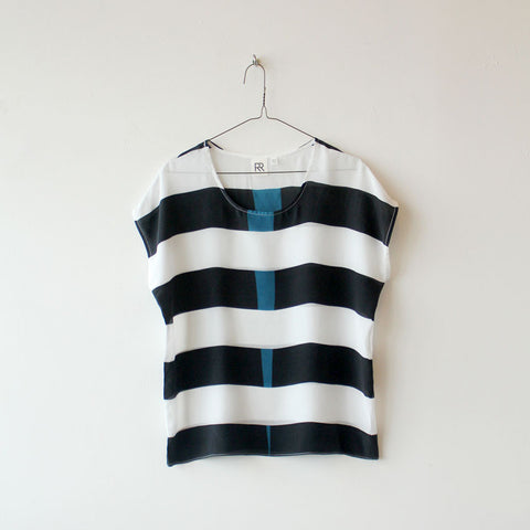 Black Stripe Silk Tee SAMPLE
