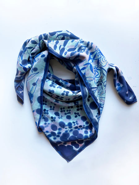 Mixed Print Scarf in Blues