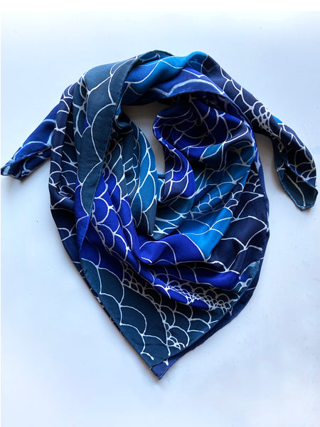 Wave Print Scarf in Blues