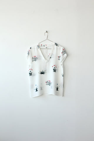 Florals Silk V-Neck Tee Sample