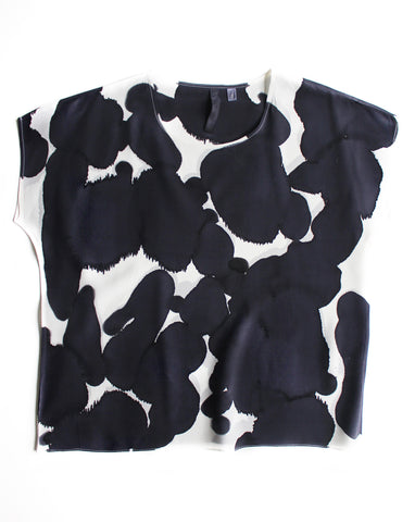 Black & White Abstract Print Silk Tee