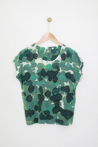 All Over Green Silk Tee SAMPLE