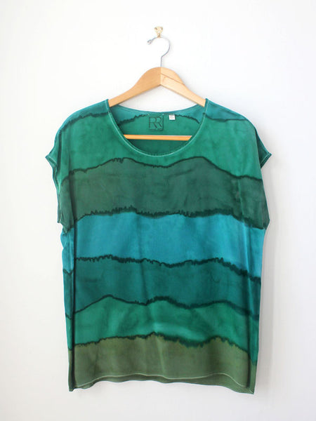 Green Stripe Silk Tee SAMPLE