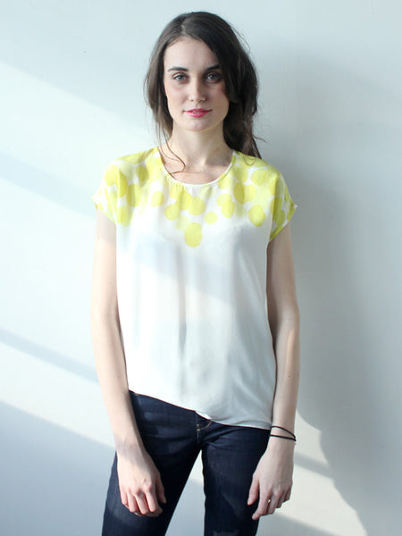 Lemon Shoulder Print Silk Tee SAMPLE