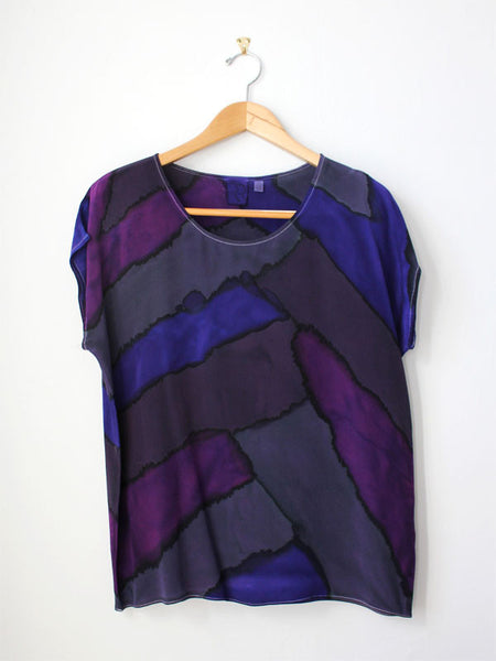 Purple Blocks Silk Tee SAMPLE