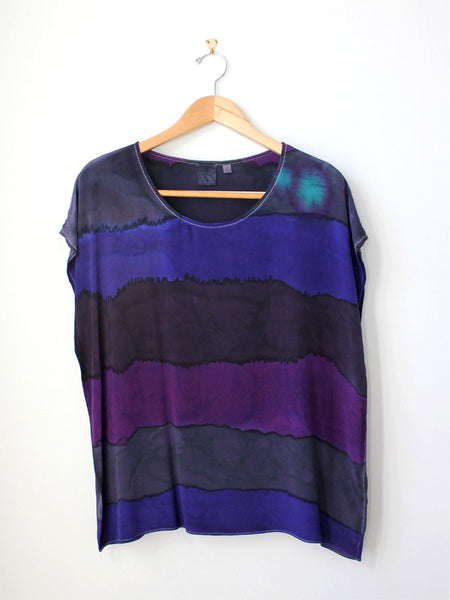 Purple Stripe Silk Tee SAMPLE