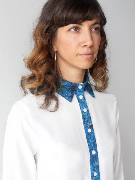 White with Blue High Collar Blouse
