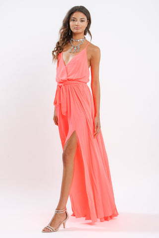 Summerbabe Chiffon Maxi Long Wrap Dress