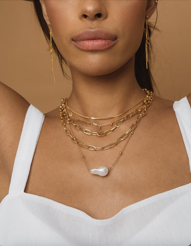Pearl Drop Gold Layered Chain