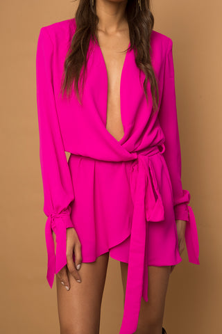 Suzan Pink Long Sleeve Wrap Mini Dress