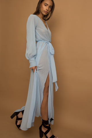 Marian Sheer Blue Maxi Long Wrap Dress