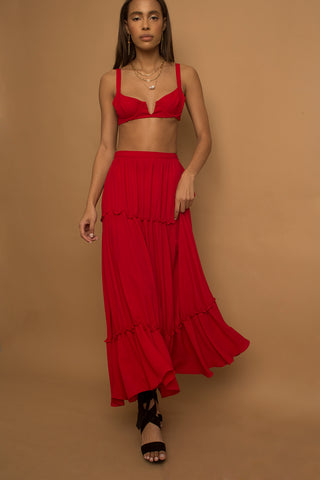 Fairy Tale Red Tired Ruffle Maxi Skirt