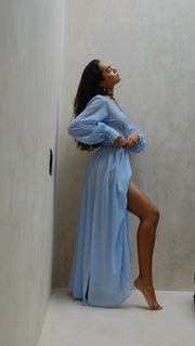 Baby Blue Marian Sheer  Maxi Long Wrap Dress