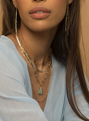 Chain Layered Lock Statement Necklace