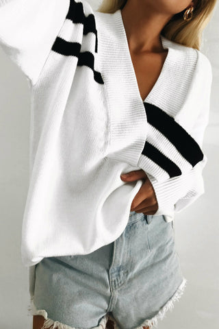 Black White Striped Sweater