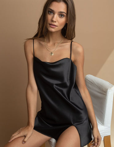 Kelly Black Satin High Slit Slip Mini Dress