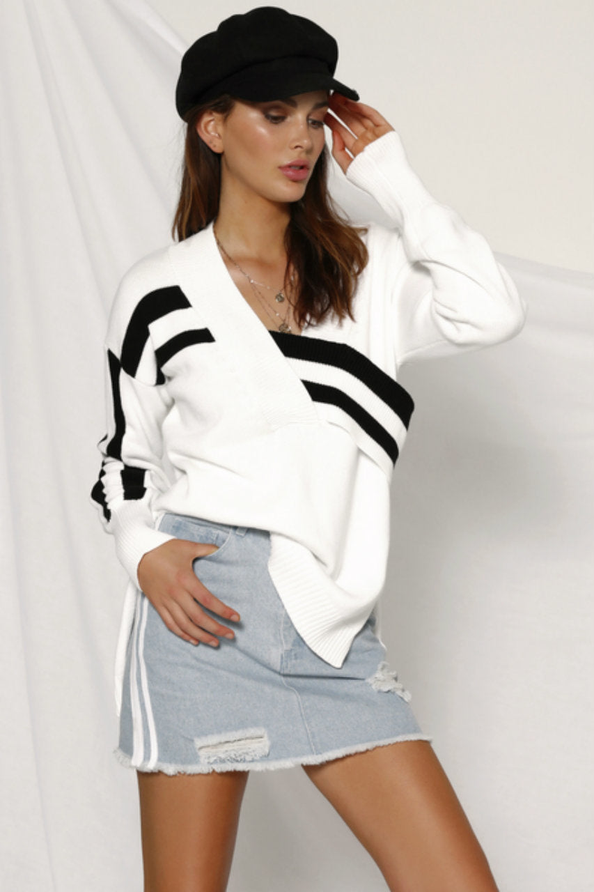 White and Black Striped Oversized Sweater