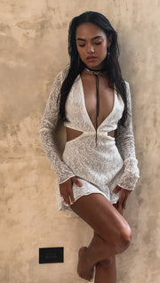 Zoe Ivory Lace Long Sleeve Cut Out Mini Dress-LIMITED EDITION